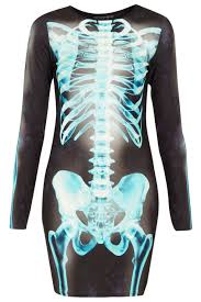 Maternity Halloween Costumes Skeleton by Topshop X Ray Skeleton Bodycon Dress In Blue Lyst