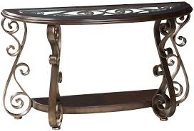 old world sofa table with glass top and s scroll legs by standard