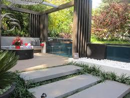 prepossessing modern garden design with pool set fresh in curtain