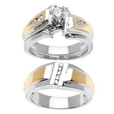 trio wedding sets 59ct tcw 14k two tone gold trio ring set 9003335 shop at
