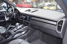 porsche side view 2018 porsche cayenne turbo dashboard right side view at 2017 dubai