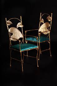 chaise dorée chaise de salle à manger design original en aluminium dorée