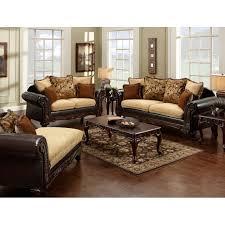 wood trim sofa ssm7430 furniture of america living room tan fabric u0026 espresso