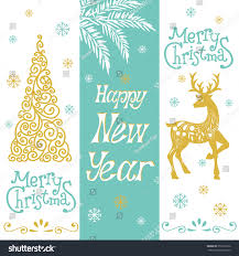 Decorate With Christmas Cards Christmas Holiday Collection Decoration Elements Greeting Stock