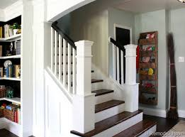 How To Build A Stair Banister Beautiful Budget Stair Remodel From Carpet To Wood Treads