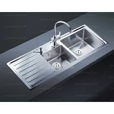 Modern Style Double Bowl Kitchen Sink With Drainboard - Kitchen sinks with drainboards