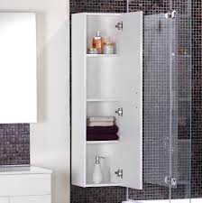 simple bathroom storage design with white wooden bathroom cabinet