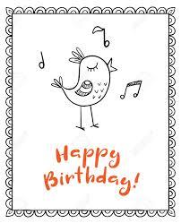 happy birthday singing happy birthday vector greeting card with doodle singing bird royalty