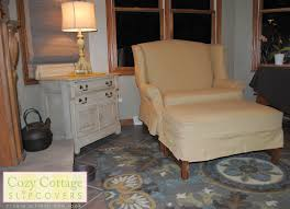Storage Ottoman Slipcover by Cozy Cottage Slipcovers Winged Settee And Ottoman Slipcover