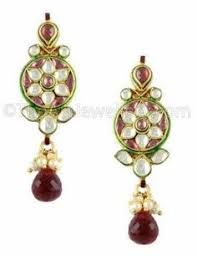 Buy Dazzling Kundan Set In Dazzling Kundan Set In Red And Green Stones And Pearls Pearl