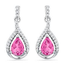 pink earrings 3 ctw pink sapphire earrings in 10k white gold