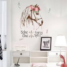 chambre cheval fille entrée décoration stickers muraux fleurs cheval fille chambre