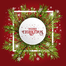 christmas frame red background vector free download