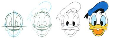 donald duck drawings step by step