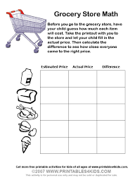 grocery store math worksheets printables for kids u2013 free word