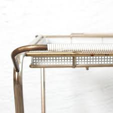 italian rolling drink cart in white perforated metal u0026 brass