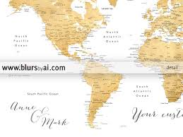 world map with country name and capital and currency personalized world map printable faux gold foil printable