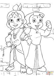 chhota bheem and krishna coloring page free printable coloring pages