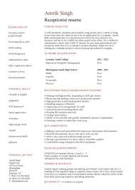 receptionist resume templates receptionist description resume amusing receptionist