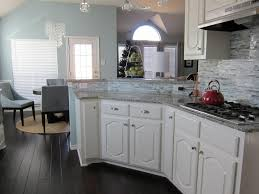what color cabinets with dark wood floors white stone surround