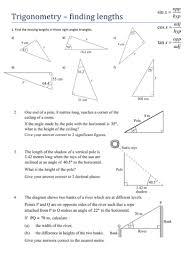 trigonometry finding lengths worksheet by tristanjones