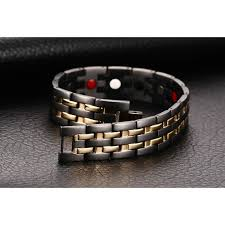 magnetic bracelet gold plated images Mens hand chain black double row gold plated bio magnetic bracelet jpg