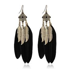 feather earrings online black feather drop earrings shop imitation jewellery online