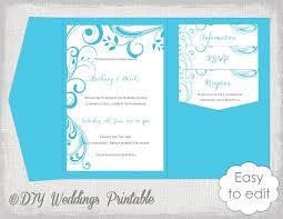 diy pocket wedding invitations pocket wedding invitation template diy malibu blue pocketfold 5x7