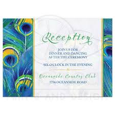 peacock feather wedding reception card watercolor blue green