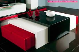 red and black coffee table wood coffee table balck and white and red couple ottomans