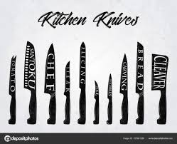 Kitchen Knives Names Realistic Set Of Kitchen Knives With Names Vector Illustration