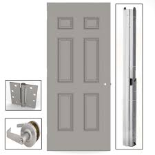6 Panel Interior Doors Home Depot by L I F Industries 36 In X 80 In Gray 6 Panel Steel Commercial