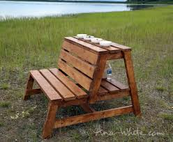 Plans For Building A Wood Bench by Ana White Firepit Benches With Table And Storage Diy Projects