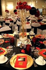 black and gold centerpieces for tables red and gold centerpieces black and gold table decorations red and