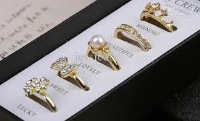 set ring 2018 fashion women girl gold tone diamond set rings with gift box