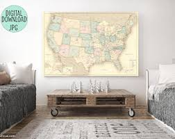 detailed map of the us push pin map etsy