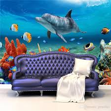 3d Wallpaper For Bedroom Lovely 3d Custom Cute Dolphin Coral Photo Wallpaper Sea World Wall