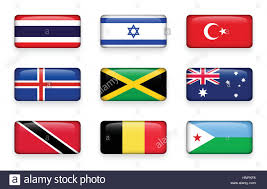 Flag For Trinidad And Tobago Set Of World Flags Rectangle Buttons Thailand Israel Turkey