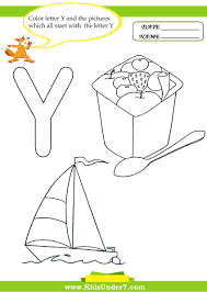 kids under 7 letter y worksheets and coloring pages