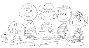 free charlie brown snoopy and peanuts coloring pages baseball