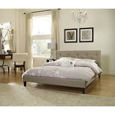 Overstock Platform Bed Sleep Sync Pocono Taupe Upholstered Platform Bed Complete