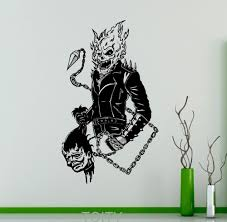 online get cheap comics sticker decal aliexpress com alibaba group ghost rider wall sticker comics antiheroes vinyl decal flaming skull home interior creative poster graphics bedroom