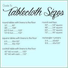 Table Linen Sizes - wedding linen measurements measurements table for table cloths