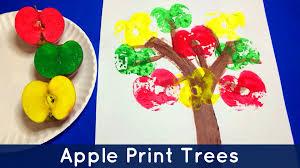 apple print trees preschool and kindergarten art project youtube
