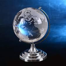 2017 clear world globe model glass figurine table stand