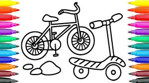how to draw bicycle for kids how to paint bicycle coloring pages