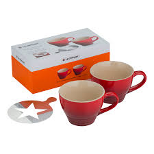 Cappuccino Cups Stoneware Set Of 2 Giant Cappuccino Cups With Stencil Cerise Le