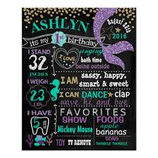 1st birthday chalkboard mermaid birthday chalkboard sign zazzle