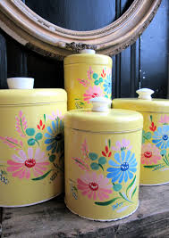 yellow kitchen canisters yellow floral canister tins ransburg set of 4 vintage kitchen