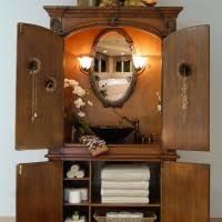 varnished teak wood bathroom vanity with cream marble countertop